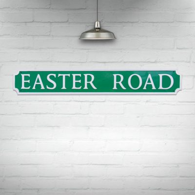 Easter Road Street Sign Green and White